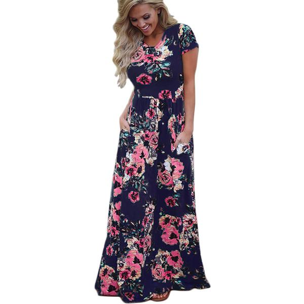 9800f14e48c Женщины длинный макси платье 2018 лето цветочный принт Boho пляж платье с  коротким рукавом вечернее платье