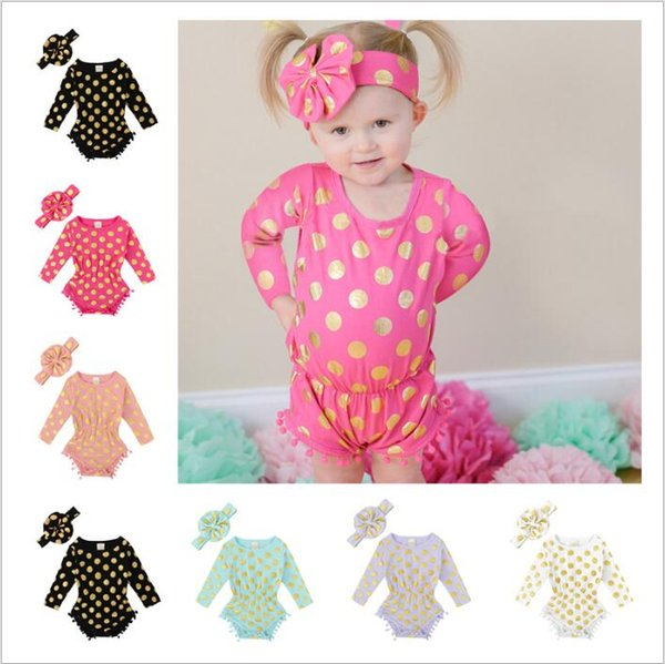 Baby Clothes Girls Tassel Romper Headband Suits Long Sleeve Jumpsuit Bow Hairband Outfits Gold Polka Dot Onesies Headwear Kids Clothing 3857