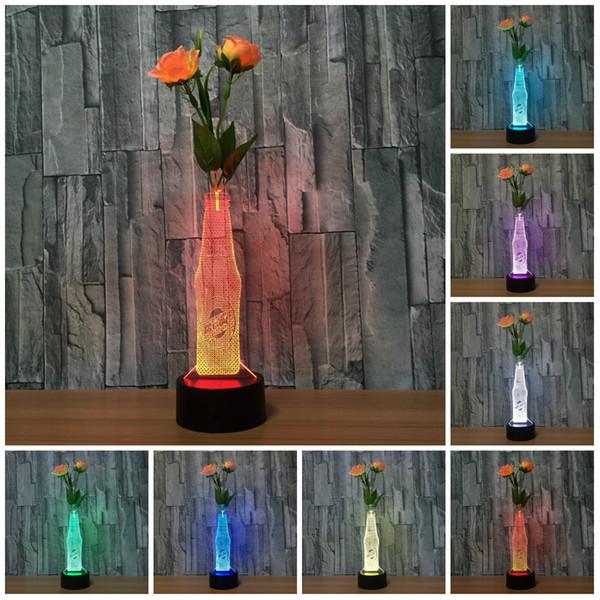 Compre Arreglo Floral Botella De Cerveza Lámpara De Luz 3d Lámparas Led Para El Regalo De Los Niños Mesa De Escritorio Del Usb Decoración Del Hogar