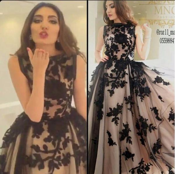 Vestidos Para Formatura Vestido De Festa A Linha Preta Lace Apliques Em Champagne Tulle Arábica árabe Longo Alta Costura Vestidos De Baile Vestidos De