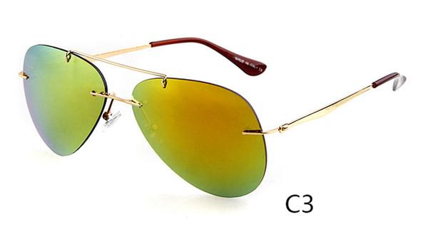 Moda condução moda óculos de sol das mulheres dos homens óculos de sol espelho máscaras de proteção UV400 gafas de sol Pilot Rimless Óculos De Sol 4 cores
