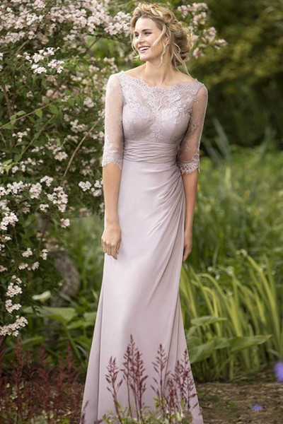 Cheap Plus Size Country Bridesmaid Dresses Mermaid Lace Chiffon 1/2 Sleeve  Backless Maid Of Honor Wedding Guest Dresses Custom Made High Quality As ...