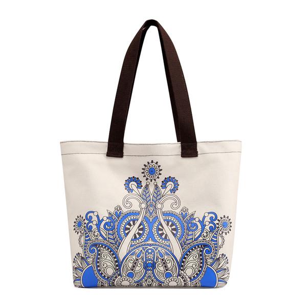 Bolso de hombro del bolso de la lona de las mujeres de Kavard Bolso de mano del recorrido de la escuela de la lona que hace compras de la impresión de la playa Bolsa de la playa feminina