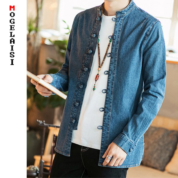 Jackets Men Jeans Blue Chinese Style Jacket Autumn Spring For Man Clothing Button Solid Slim Mens Jeans Jackets Asian Size M-5XL