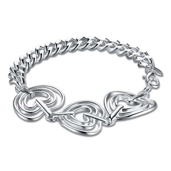 Wedding gift !Three love side chain bracelet 925 silver bracelet JSPB323 ; Hot sale girl women sterling silver plated Charm Bracelets