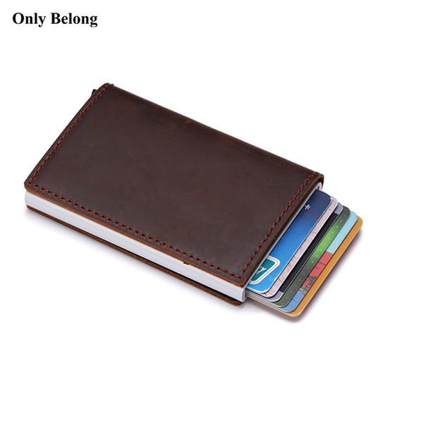 Cartera de cuero auténtico ID de aluminio Bloqueo de billetera Bandeja de crédito emergente automática Tarjeta de visita Protector de caja