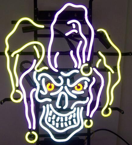 Custom New JESTER SKULL Real Glass Neon Sign light Beer Bar Sign Send need photo 19x15""
