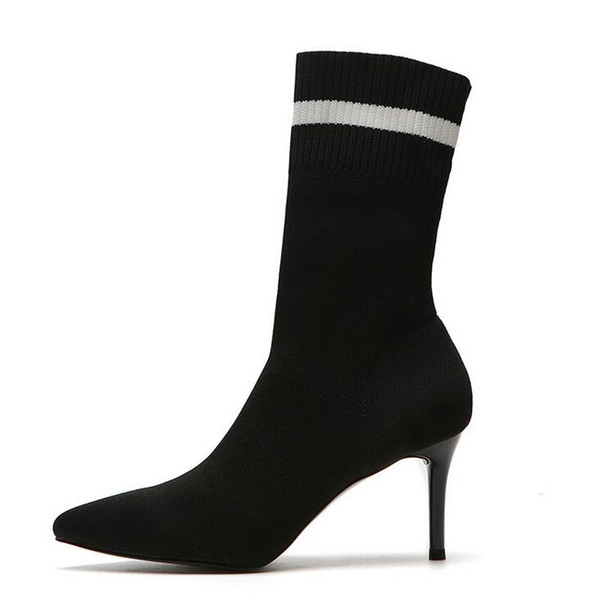Women's shoes ribbed socks silver side high-heeled elastic boots pointed stiletto autumn and winter was thin fashion party wild sexy boots