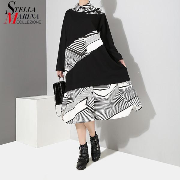 2018 Korean Style Women Winter Black Hit Color Shirt Dress Long Sleeve Striped Part Patchwork Girls Cute Wear Party Dresses 4010