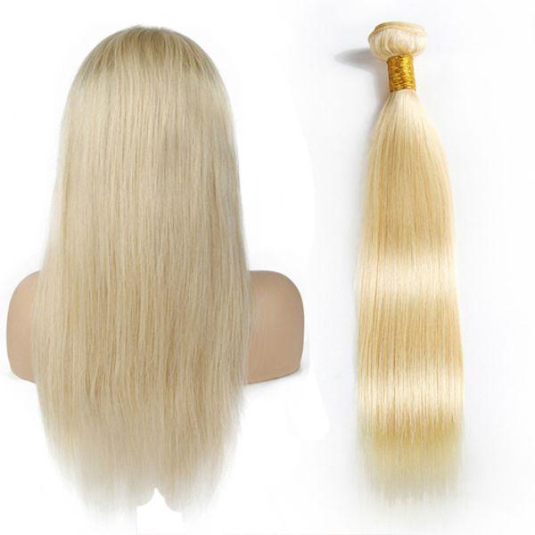 Brazilian Raw Virgin Straight Hair 1Pc 613 Blonde Non-Remy 100% Human Hair Bundles For Salon Hair Extensions