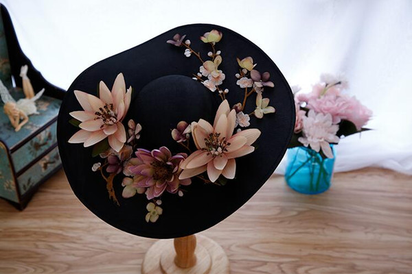 Wedding Accessories Bridal Hat Wedding Party Women Hats with Colorful Vintage Flowers New Arrival Gothic Black Hats