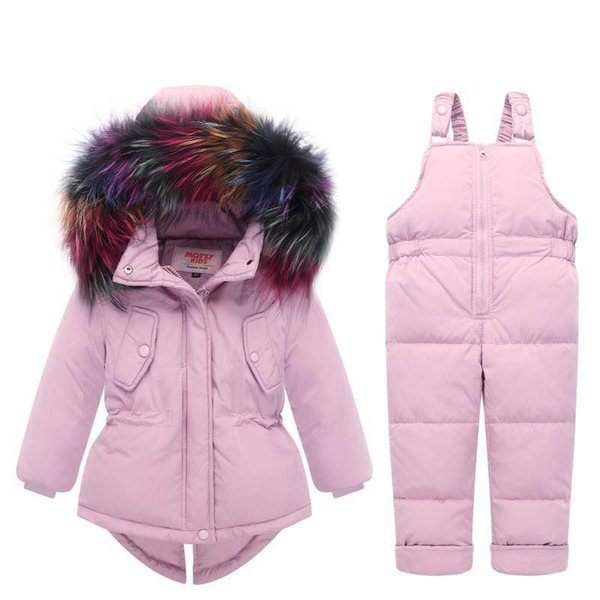 2018 New Winter Bambini Snowsuit Abbigliamento Set White Duck Down Jacket + Set tute Tute per ragazze Bambini Ski Suit Tute per ragazzi