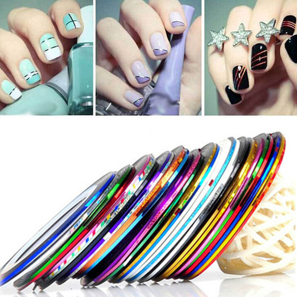 37 Pcs/lot Nail Striping Tape Line Nail Art Adhesive Decal Manicure Glitter Decoration Sticker DIY Tips For Polish Tool