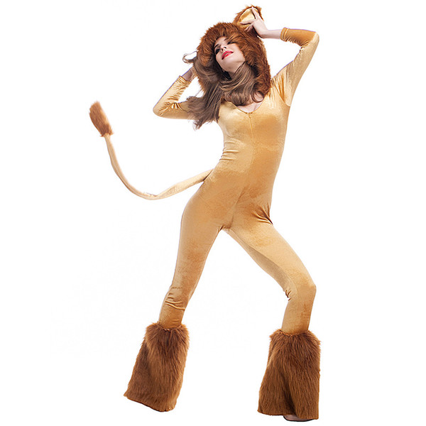 Halloween King of the Jungle Lion Costume for Women Sexy Carnival Uniform Animal Cosplay Outfits Circus Stage Theme Costume