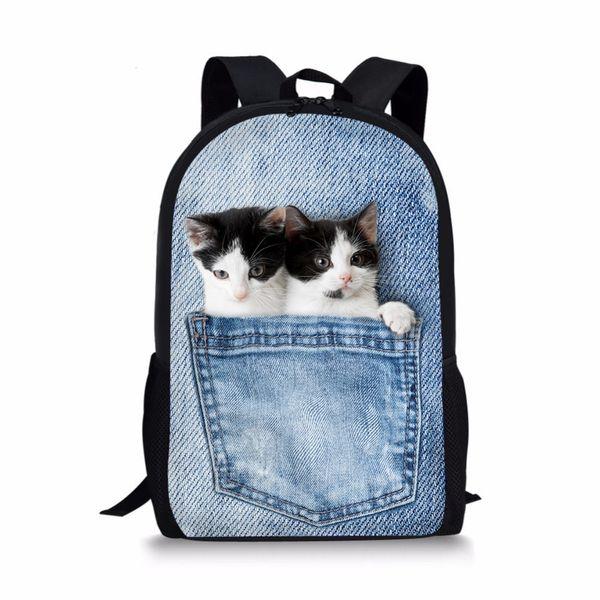 3D School Bags for Teenage Girls Boys Lovely Cute Cat Printing Student Book Bag Primary Children Backpacks Infantil