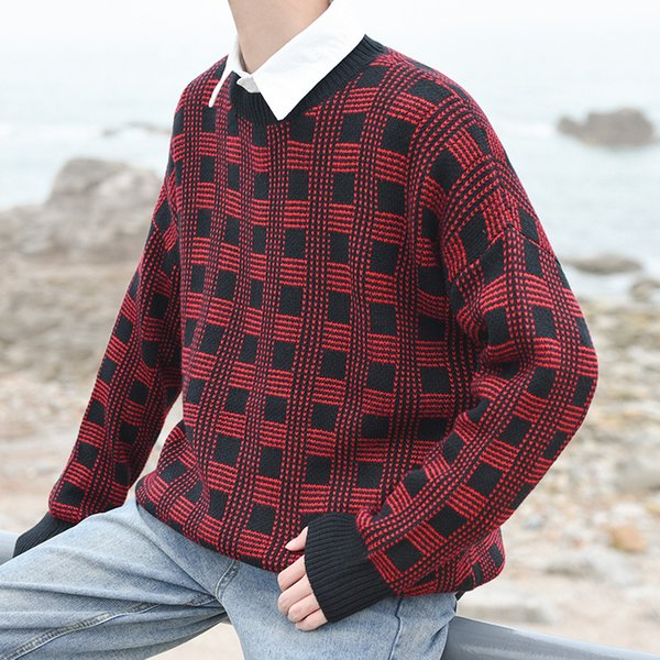 Plaid Round Neck Casual Sweater for Men 2018 Winter Oversized Sweaters Men Preppy Style Boy Sweaters Male Top