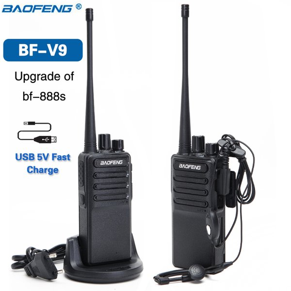 2PCS 2018 Baofeng BF-V9 USB 5V Fast Charge Walkie Talkie 5W UHF 400-470MHz 16CH Ham Portable Radios Upgrade of BF-888S Two Way Radio