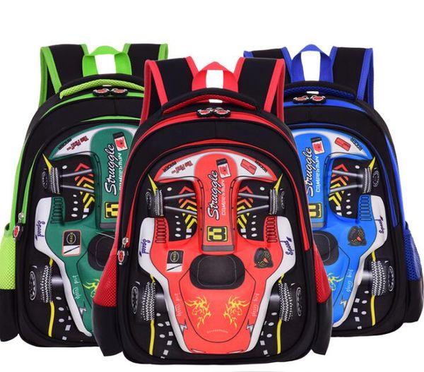 Yeni araba 3D çocuk çantası ilkokul erkek 1-3-4 sınıf EVA sert kabuğu çift omuz çocuk çantası toptan