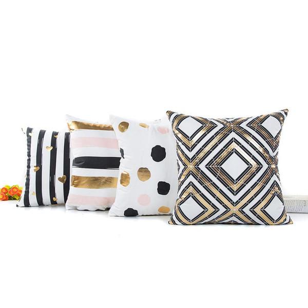 Nuevo estilo Feliz Navidad Funda de almohadas decorativas de bronceado Funda de almohada de tiro geométrica de alta calidad 45 cm x 45 cm para funda de cojín de asiento de sofá