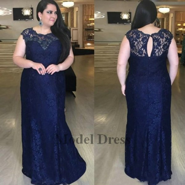 Dark Navy Blue Evening Dresses Plus Size Lace Sheath Sheer Neck Zipper Back Floor Length Formal Party Dresses for Evening New Design 2018