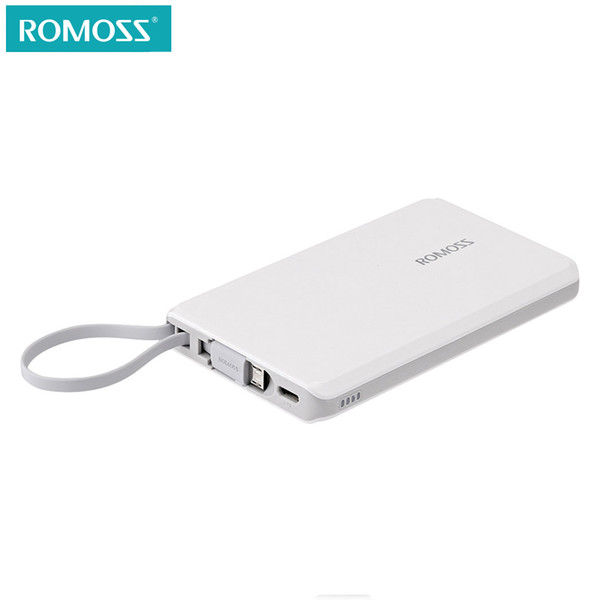 ROMOSS QS05 Mini 5000mAh External Battery Pack Power Bank Built in Micro USB Cable with 8 Pin Adapter for iphone 6plus 7plus