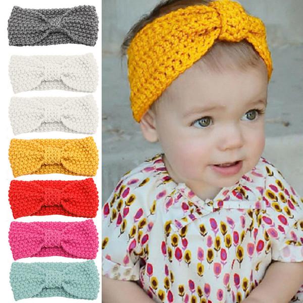 Baby Knitted Crochet Headband Top Knot Elastic Turban Baby Girls Head Wrap Hair Bands Ears Warmer Headband Accessories D30