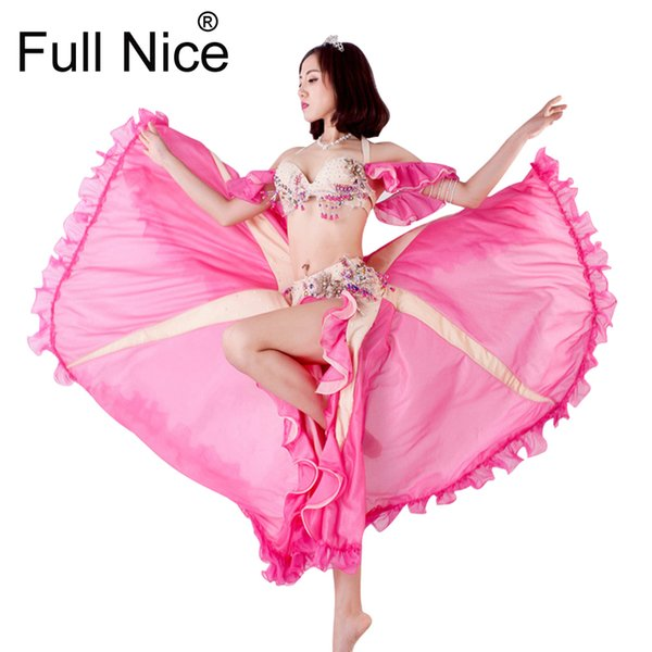 2018 Top Grade Women Dancewear Belly Dancing Clothes Oriental Dance Beaded Outfit with Sleeves Belly Dance Costume Set Bra Skirt