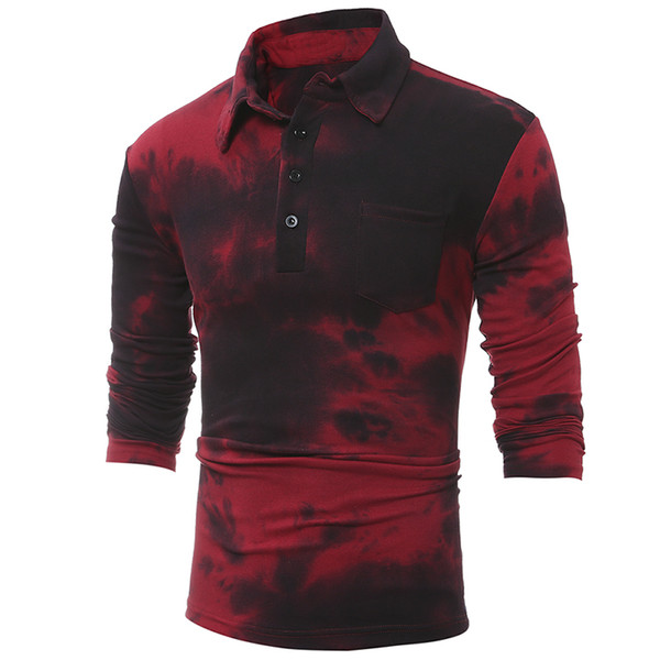 High Grade Men T-shirt 2018 Brand Fashion Casual Slim Long Sleeve T Shirt Korean Tie-dye Plus Size Streetwear Tees Red