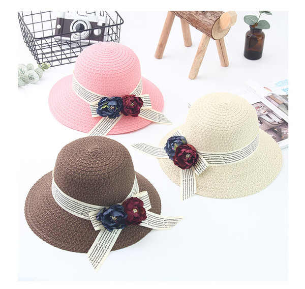 8pcs 01803-boban0082 summer flower letter tape paper straw cap women lady  sunscreen hat wholesale 3dca162f1d41