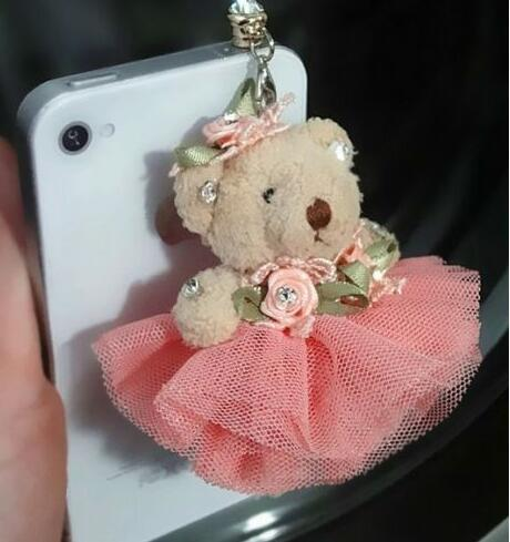 Lovely teddy bear 3.5mm Anti Dust Plug Cover Stopper Charm iPhone 7/8