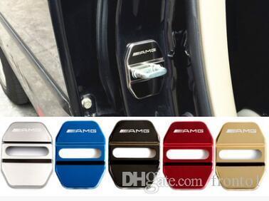 Estilo do carro Do Carro Fechadura Da Porta Cobre Decoração Caso Para Mercedes Benz Classe GLK GLA C E GLC AMG Auto Car-Styling 4 pçs / lote