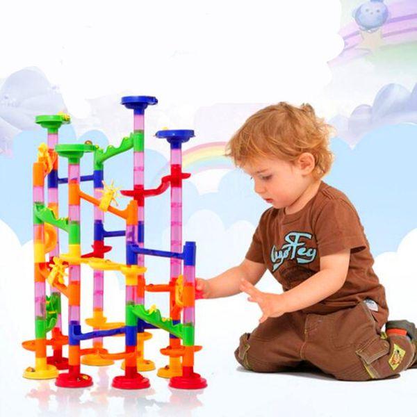 105pcs Brand DIY Marble Race Run Maze Balls Track Building Blocks Kids Educational Construction Game Toys Gift