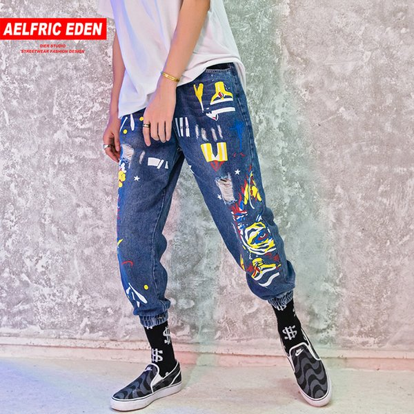 wholesale Baggy Jeans Men Graffiti Slim Fit Distressed Harem Jean Denim 2018 Fashion Hip Hop Joggers Casual Streetwear RK22