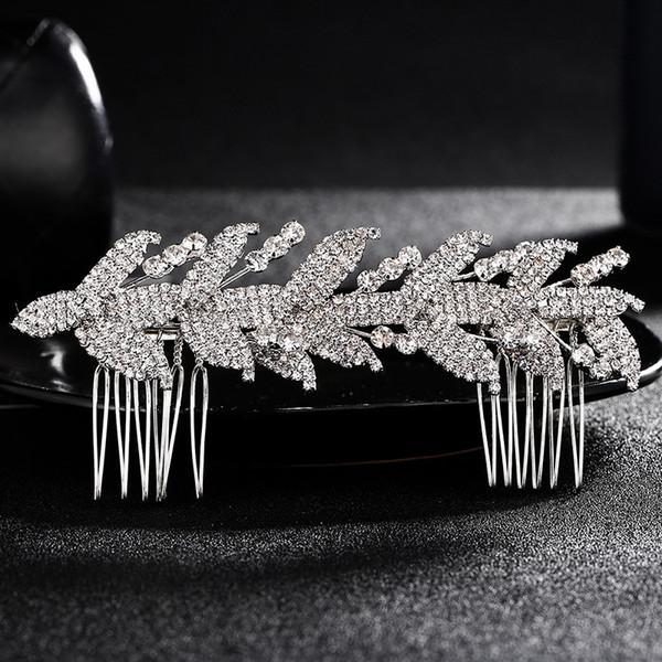 Bridal rhinestone Encrusted Leaf Hair Pin Clip Dress Comb Prom Wedding Jewelry Evening Dress Accessories JCH061