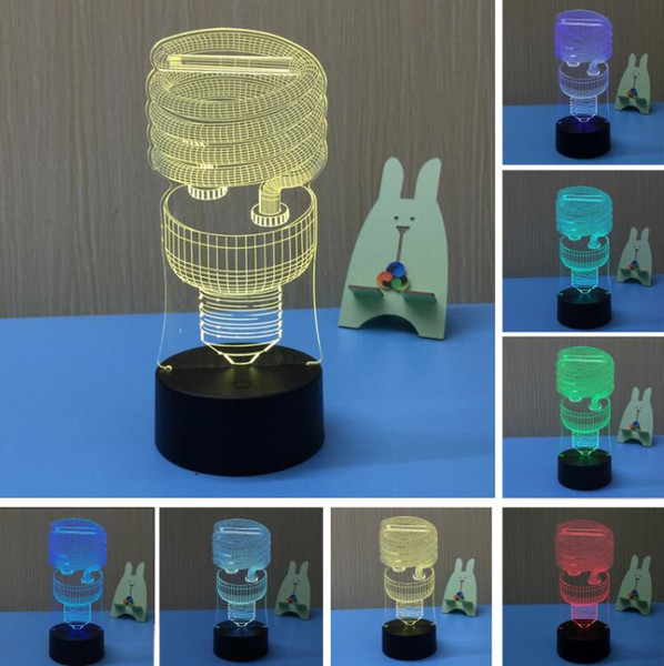 3D Hot Energy Saving Spiral 7 Cor Gradiente Noite Luz Mesa de Toque USB Mesa de cabeceira Dormir Holiday Lamp Criança Kids Xmas Holiday Toy Presente