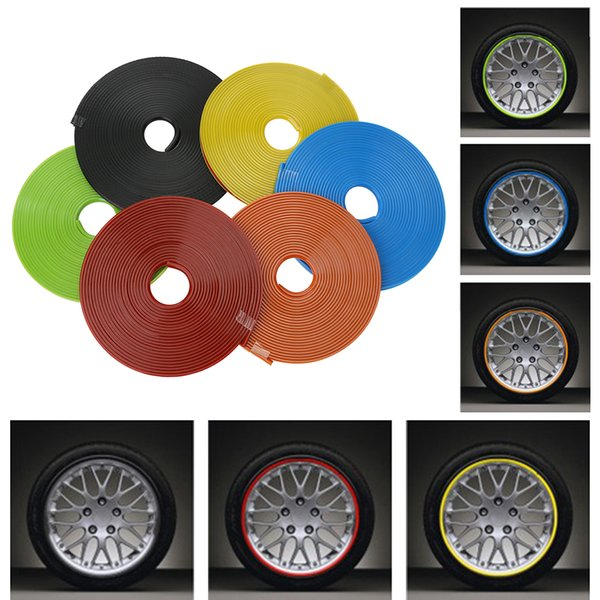 LOONFUNG LF74 Car Wheel Protector Hub Sticker Car Decorative Strip Auto Rim/Tire Protection Care Covers Drop Ship Car-styling 8 Meter