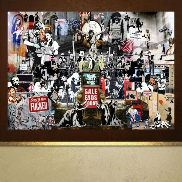Astratto Banksy Graffiti Art Pittura ad olio, stampe su tela HD Decorazione della casa Soggiorno camera da letto Immagini a parete Pittura di arte (No incorniciato)