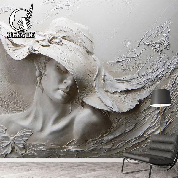 Formato personalizzato 3D carta da parati murale moderno stereoscopico impresso pittura a olio 3d carta da parati murale per soggiorno Wallcovering