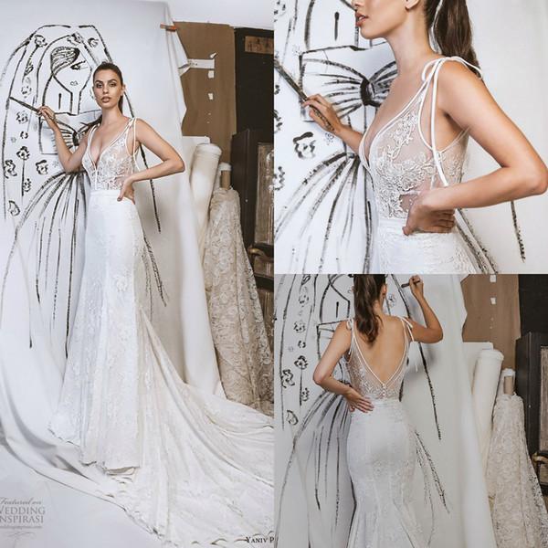 Yaniv Persy Fall 2019 Mermaid Wedding Dresses Sexy V Neck Lace Backless Sweep Train Bidal Gowns Plus Size Vestidos De Noiva
