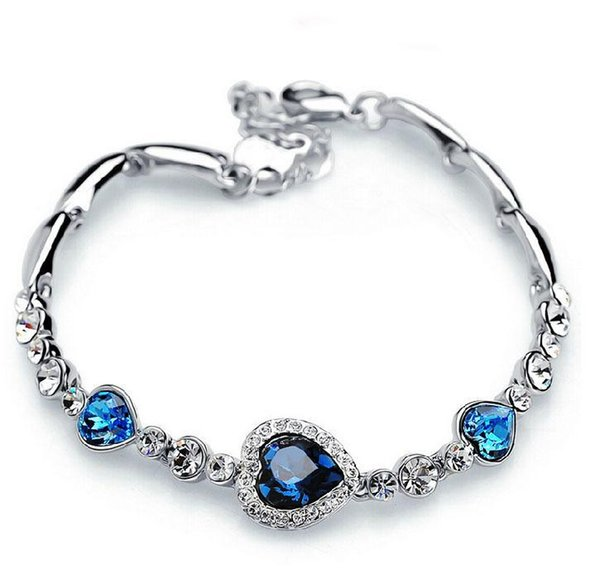 Bracelets Fashion Ocean Blue Sliver Plated Crystal Rhinestone Heart Charm Bracelet Bangle Gift Swarovski Jewelry Charm Bracelets
