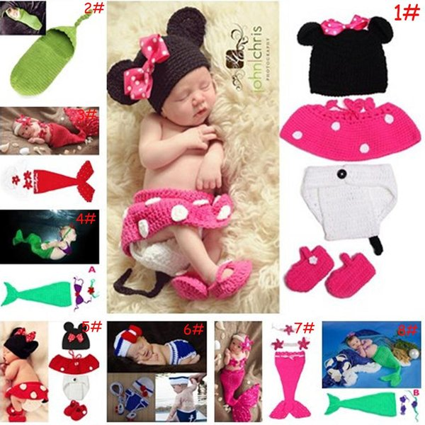 Latest Crochet Baby Cartoon Costume Knitted Newborn Baby Coming Home Outfits Mickey Mermaid Baby Girl Photo Props