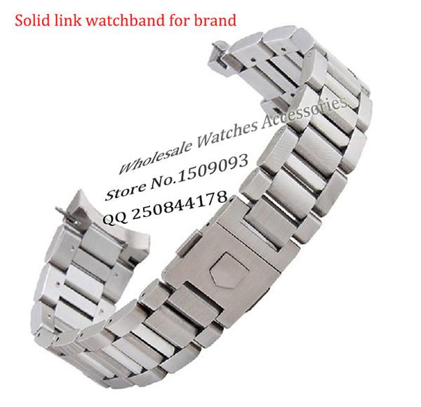 Neue ankunft schwarz Edelstahl Armband Armbänder Gebogene Ende Solide Link 22mm für Marke stahl uhr männer Hohe Qualität