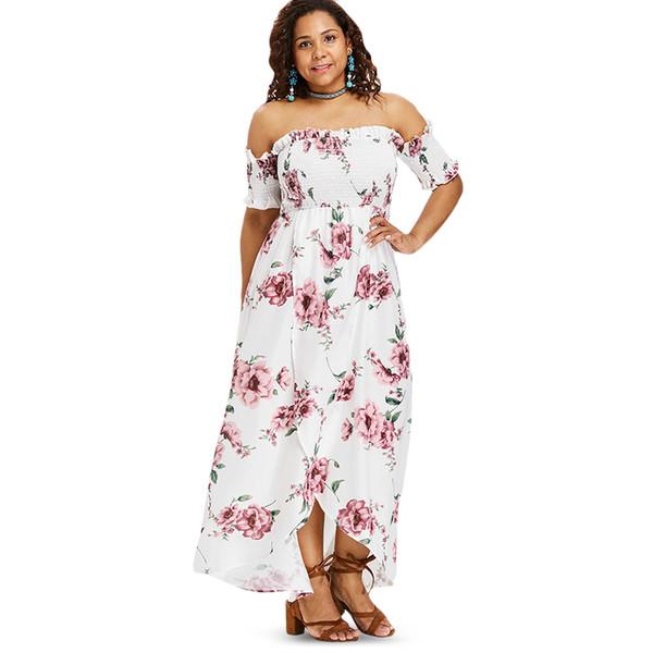 2019 Wipalo Plus Size Flower Empire Waist Maxi Dress Asymmetrical Tulip Off  Shoulder Floor Length Bohemian Dress Big Size Vestidos From Finebeautyone,  ...