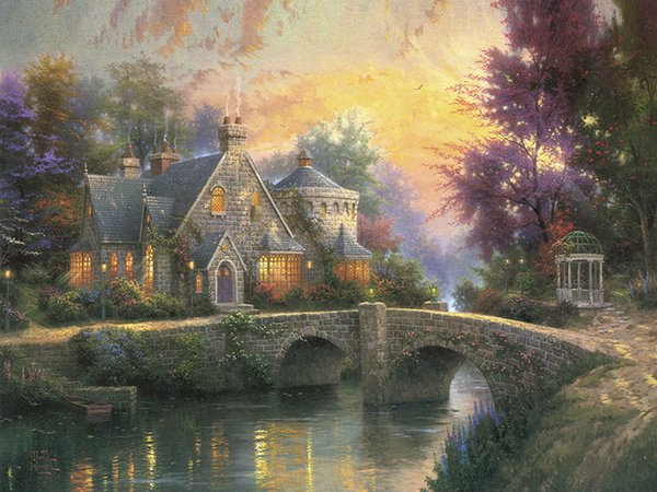 Unframed or Framed Thomas Kinkade Landscape Oil Painting Reproduction High Quality Picture Printed On Canvas Modern Home Art Decor HT342