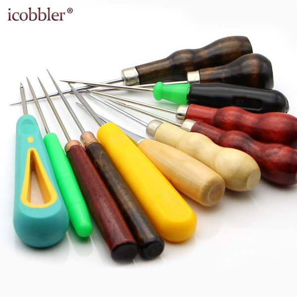 Leather Stitching Sewing Awl Repair Tool, Wood Handle Drillable Round Solid Tools for Craft Repair Shoes Bags with Hook Hole Awl