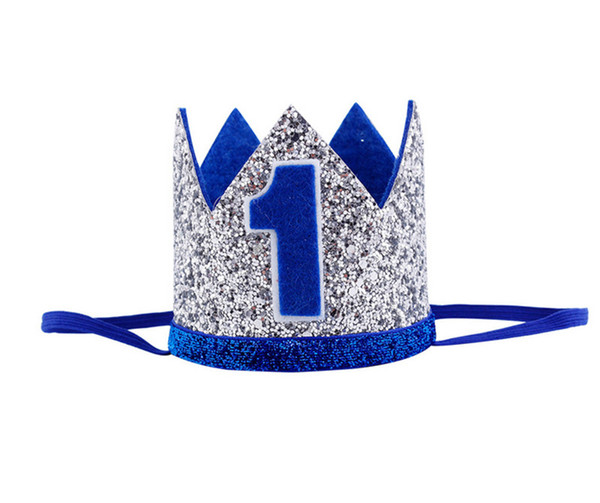 Boys First Birthday Silver Blue Crown Kids Golden 1st Boy Outfit For Cake Smash Sparkle Royal Party Hat Transparent