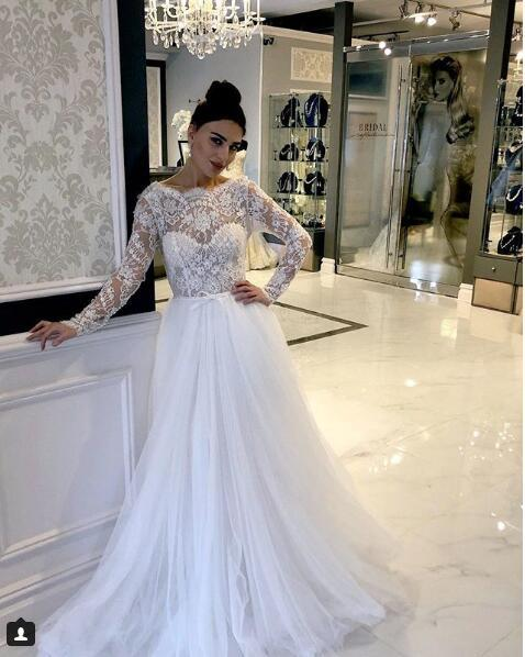 Sexy Lace Top Aline Long Sleeve Wedding Bridal Gowns White Tulle Wedding Dresses China