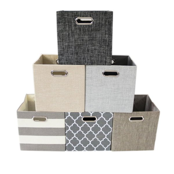 6 Styles Foldable Handle toys Storage Box clothes Storage Basket Towel Laundry Box Container Fabric Bins Storage Bags FFA227 10pcs