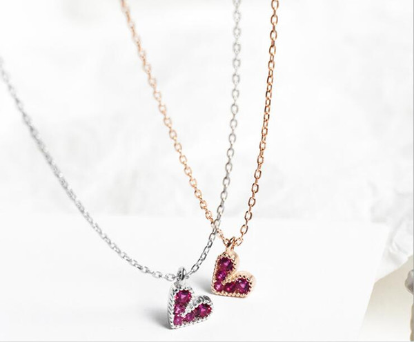 Pure silver rose red love necklace Korean light luxury simple sweet girl mini pendant clavicle chain jewelry