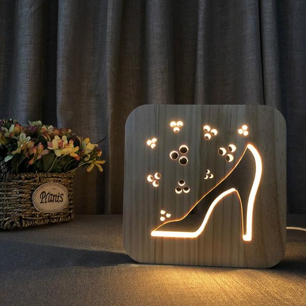 Nocturna Dibujos De En Compre AnimadosMesa Luz Potencia Madera 3D Nocturna Luz Tallado Lámpara Escritorio LED USB De Madera Patrón De Tacones Altos H9YW2EDI
